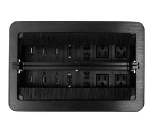 caja modular retráctil multipuertos para mesa